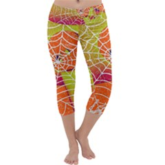 Orange Guy Spider Web Capri Yoga Leggings
