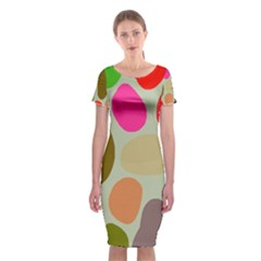Pattern Design Abstract Shapes Classic Short Sleeve Midi Dress
