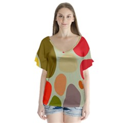 Pattern Design Abstract Shapes Flutter Sleeve Top