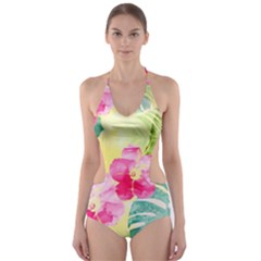 Tropical Dream Hibiscus Pattern Cut Out One Piece Swimsuit