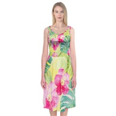 Tropical Dream Hibiscus Pattern Midi Sleeveless Dress