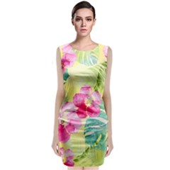 Tropical Dream Hibiscus Pattern Classic Sleeveless Midi Dress