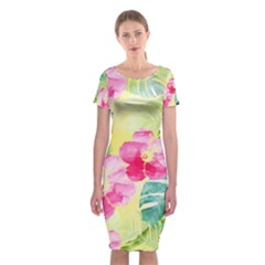 Tropical Dream Hibiscus Pattern Classic Short Sleeve Midi Dress