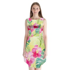 Tropical Dream Hibiscus Pattern Sleeveless Chiffon Dress