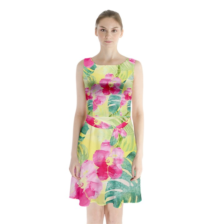 Tropical Dream Hibiscus Pattern Sleeveless Chiffon Waist Tie Dress