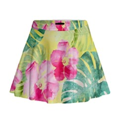 Tropical Dream Hibiscus Pattern Mini Flare Skirt