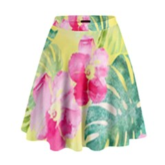 Tropical Dream Hibiscus Pattern High Waist Skirt