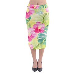 Tropical Dream Hibiscus Pattern Midi Pencil Skirt