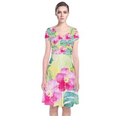 Tropical Dream Hibiscus Pattern Short Sleeve Front Wrap Dress