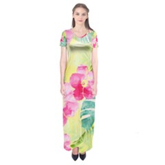 Tropical Dream Hibiscus Pattern Short Sleeve Maxi Dress