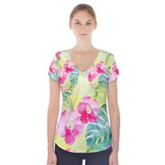 Tropical Dream Hibiscus Pattern Short Sleeve Front Detail Top