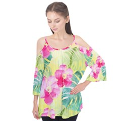 Tropical Dream Hibiscus Pattern Flutter Tees