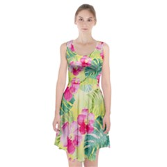 Tropical Dream Hibiscus Pattern Racerback Midi Dress