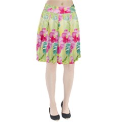 Tropical Dream Hibiscus Pattern Pleated Skirt