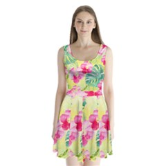 Tropical Dream Hibiscus Pattern Split Back Mini Dress