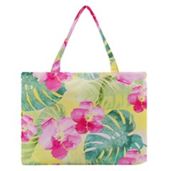 Tropical Dream Hibiscus Pattern Medium Zipper Tote Bag