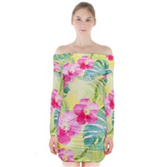 Tropical Dream Hibiscus Pattern Long Sleeve Off Shoulder Dress