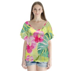 Tropical Dream Hibiscus Pattern Flutter Sleeve Top