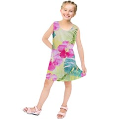 Tropical Dream Hibiscus Pattern Kids  Tunic Dress