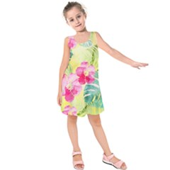 Tropical Dream Hibiscus Pattern Kids  Sleeveless Dress