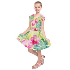 Tropical Dream Hibiscus Pattern Kids  Short Sleeve Dress
