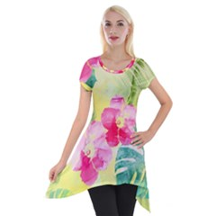 Tropical Dream Hibiscus Pattern Short Sleeve Side Drop Tunic