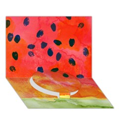 Abstract Watermelon Circle Bottom 3d Greeting Card (7x5)