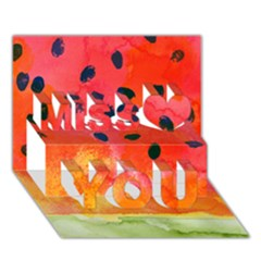 Abstract Watermelon Miss You 3d Greeting Card (7x5)
