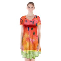 Abstract Watermelon Short Sleeve V Neck Flare Dress