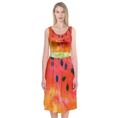 Abstract Watermelon Midi Sleeveless Dress