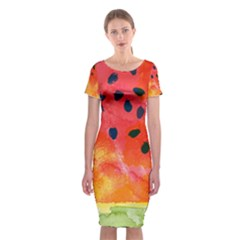Abstract Watermelon Classic Short Sleeve Midi Dress