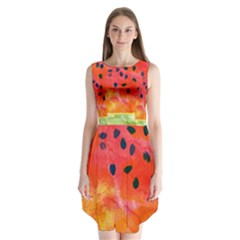 Abstract Watermelon Sleeveless Chiffon Dress