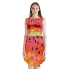 Abstract Watermelon Sleeveless Chiffon Dress