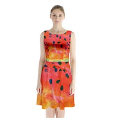 Abstract Watermelon Sleeveless Chiffon Waist Tie Dress