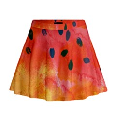 Abstract Watermelon Mini Flare Skirt