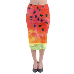 Abstract Watermelon Midi Pencil Skirt
