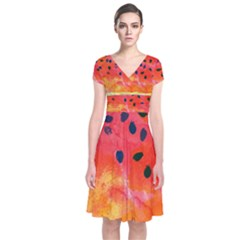 Abstract Watermelon Short Sleeve Front Wrap Dress