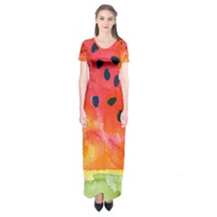 Abstract Watermelon Short Sleeve Maxi Dress