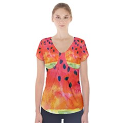 Abstract Watermelon Short Sleeve Front Detail Top