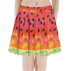 Abstract Watermelon Pleated Mini Skirt