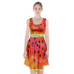 Abstract Watermelon Racerback Midi Dress