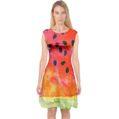 Abstract Watermelon Capsleeve Midi Dress