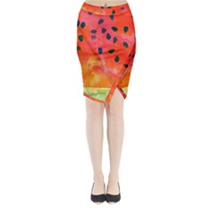 Abstract Watermelon Midi Wrap Pencil Skirt