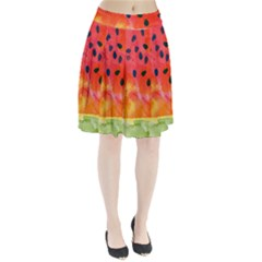 Abstract Watermelon Pleated Skirt