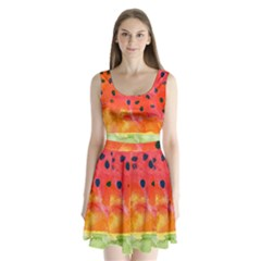 Abstract Watermelon Split Back Mini Dress