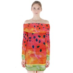 Abstract Watermelon Long Sleeve Off Shoulder Dress