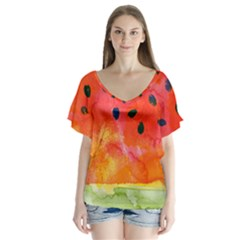 Abstract Watermelon Flutter Sleeve Top