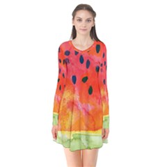Abstract Watermelon Flare Dress