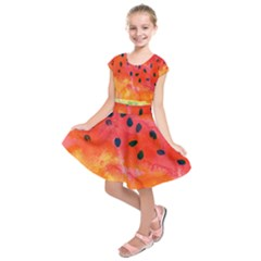 Abstract Watermelon Kids  Short Sleeve Dress