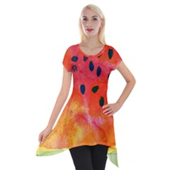 Abstract Watermelon Short Sleeve Side Drop Tunic